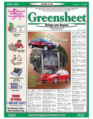 Primary view of object titled 'The Greensheet (Dallas, Tex.), Vol. 32, No. 195, Ed. 1 Friday, October 17, 2008'.