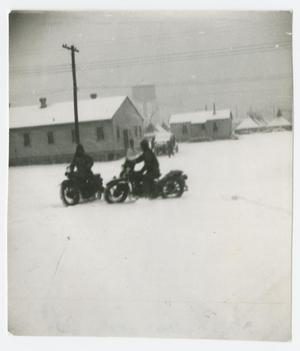 Primary view of object titled '[Motorcycles in the Snow]'.