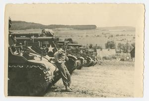 Primary view of object titled '[Soldier by Line of Tanks]'.