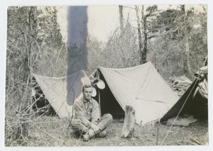 Primary view of object titled '[Gildea in Front of Tent]'.
