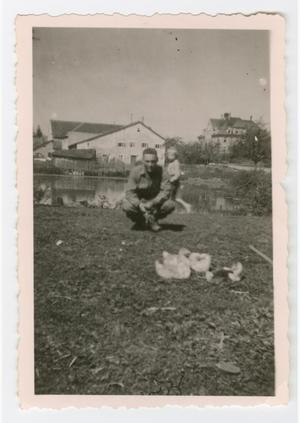 Primary view of object titled '[Soldier and a Child Watching Ducks]'.
