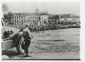 Primary view of object titled '[Soldiers Assembled in Colmar, France]'.