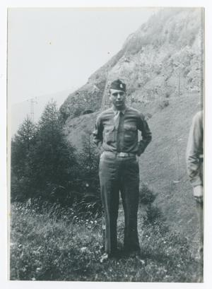Primary view of object titled '[Soldier in Front of Road Tunnel]'.