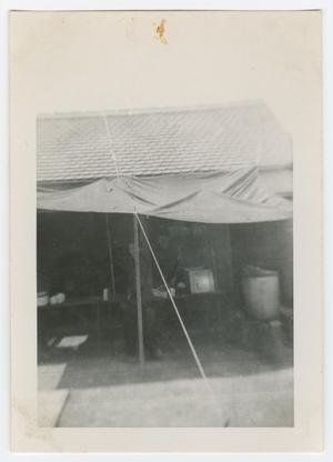 Primary view of object titled '[Two Soldiers Under a Tent Canopy]'.