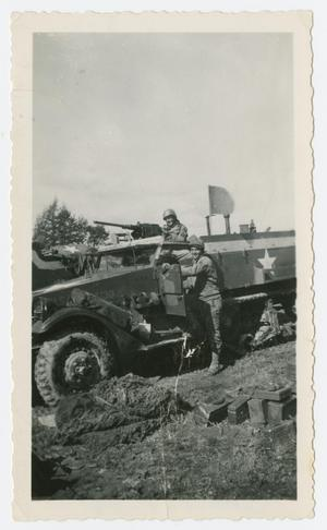 Primary view of object titled '[Two Soldiers in Half-Track]'.