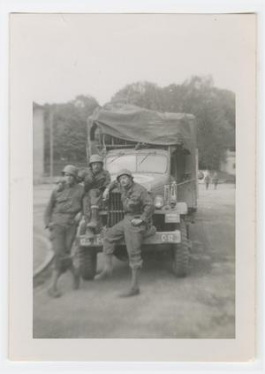 Primary view of object titled '[Three Soldiers with a Truck]'.