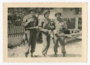 Primary view of object titled '[Three Soldiers in Germany]'.
