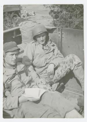 Primary view of object titled '[Soldiers in Back of a Half-Track]'.
