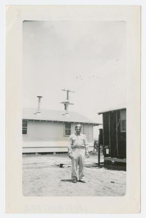 Primary view of object titled '[Stephen A. Melisko at Camp Barkeley]'.