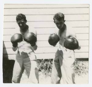 Primary view of object titled '[Soldiers with Boxing Gloves]'.