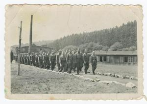 Primary view of object titled '[Two Columns of Captured German Soldiers]'.