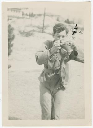 Primary view of object titled '[William Giannopoulos with a Gas Mask]'.