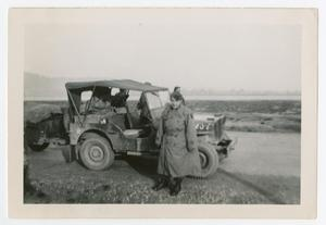 Primary view of object titled '[Major Shifley by Jeep]'.