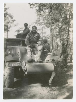 Primary view of object titled '[Soldier on Hood of Half-Track]'.