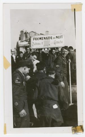 Primary view of object titled '[Soldiers Gathered on the Promenade de Nuit]'.
