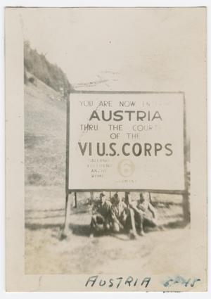 Primary view of object titled '[Soldiers Under a Sign Denoting Austria]'.