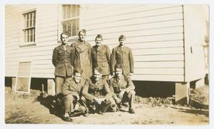 Primary view of object titled '[Seven Soldiers at Camp Campbell]'.