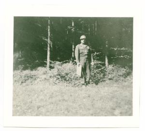 Primary view of object titled '[Riley Ennis Near a Forest]'.