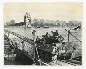 Primary view of object titled '[American Tank Crossing Pontoon Bridge at Over the Rhine River]'.