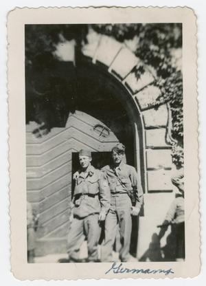Primary view of object titled '[Ken Odnol and William Giannopoulos in Front of Landsberg Prison]'.