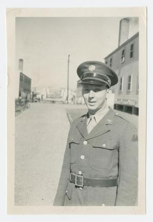 Primary view of object titled '[Don Mercier at Camp Campbell]'.