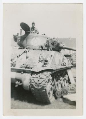 Primary view of object titled '[Soldier Standing in Tank Hatch]'.