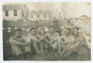 Primary view of object titled '[Soldiers Sitting at Camp Campbell]'.