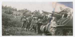 Primary view of object titled '[Soldiers in Front of Artillery Pieces]'.