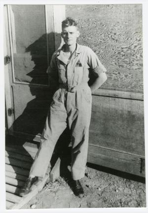 Primary view of object titled '[Lloyd Deluca at Camp Barkeley, Texas]'.
