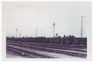 Primary view of object titled '[Several Boxcars on a Railroad]'.