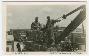 Primary view of object titled '[Richard Mauger and William Giannopoulos on a Tow Truck]'.