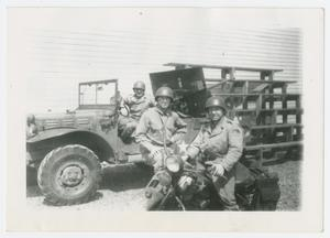 Primary view of object titled '[Three Men at Camp]'.