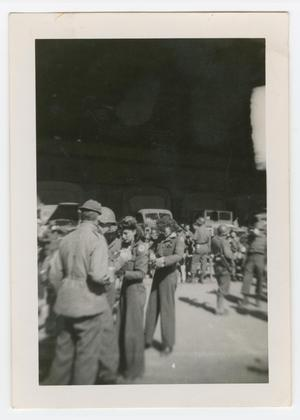 Primary view of object titled '[Red Cross Workers Among Soldiers]'.