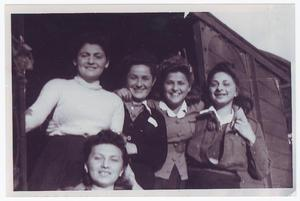 Primary view of object titled '[Five Women Standing in a Boxcar Doorway]'.