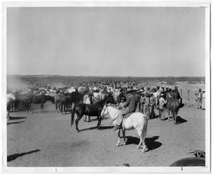 Primary view of object titled 'Cowboys and a Corral of Horses'.