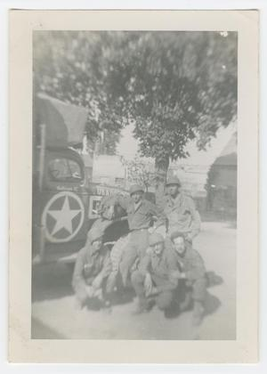 Primary view of object titled '[Five Soldiers Beside an Army Truck]'.