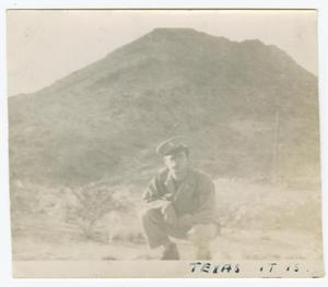 Primary view of object titled '[William Giannopoulos Posing Before a Mountain]'.