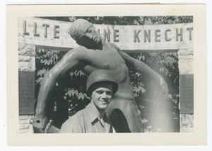 Primary view of object titled '[Richard Benny with German World War I Monument]'.