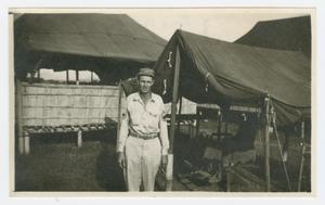 Primary view of object titled '[Bill Kellis in a Rest Camp]'.