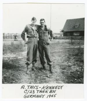 Primary view of object titled '[Robert Tays and Maurice Kennedy in a Field]'.