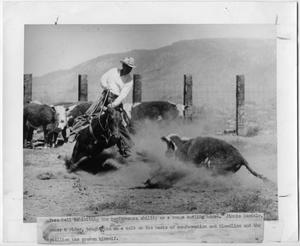 Primary view of object titled 'Jimmie Randals with horse Poco Dell'.