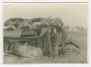 Primary view of object titled '[Two Soldiers Smoking by a Wrecked Tank]'.