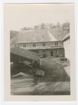 Primary view of object titled '[German House and Woodshed]'.