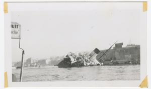Primary view of object titled '[Partially Sunken Ship in a Harbor]'.