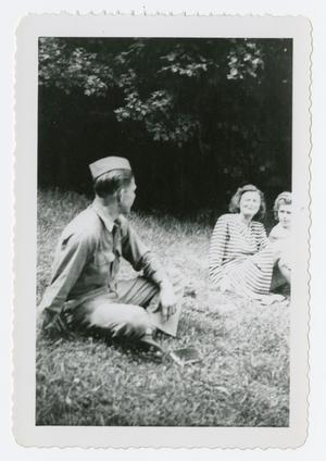 Primary view of object titled '[Soldier and Two Girls]'.
