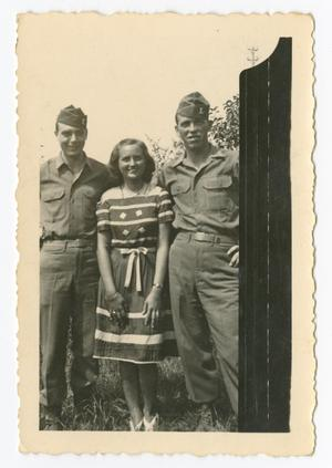 Primary view of object titled '[Two Soldiers and Woman]'.