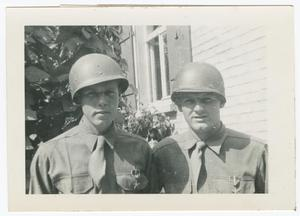 Joseph Kiker and George Hatt by a Building, George Hatt Collection