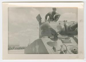 Primary view of object titled '[William Giannopoulos on Top of an M4 Tank]'.