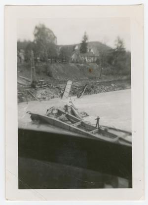 Primary view of object titled '[Two Soldiers Standing on Wreckage in a River]'.