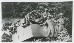 Primary view of object titled '[Soldiers by Overturned Tank]'.